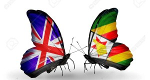 Two butterflies with flags on wings as symbol of relations UK and Zimbabwe