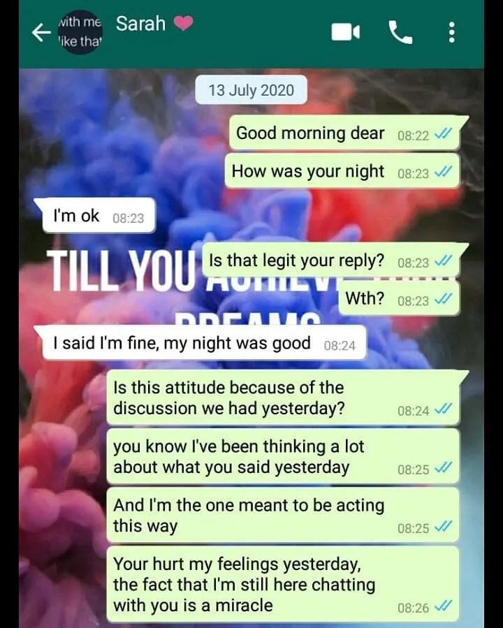 I'm in this relationship because l feel like l owe you not that l love you: Girl confesses WhatsApp Chat goes viral