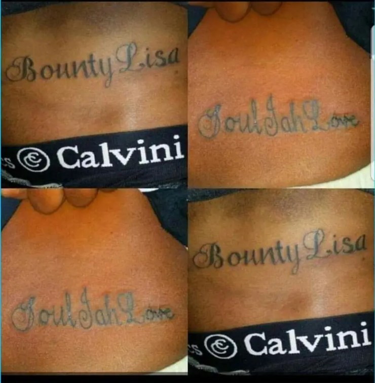 Bounty Lisa Soul jah Love tatoos