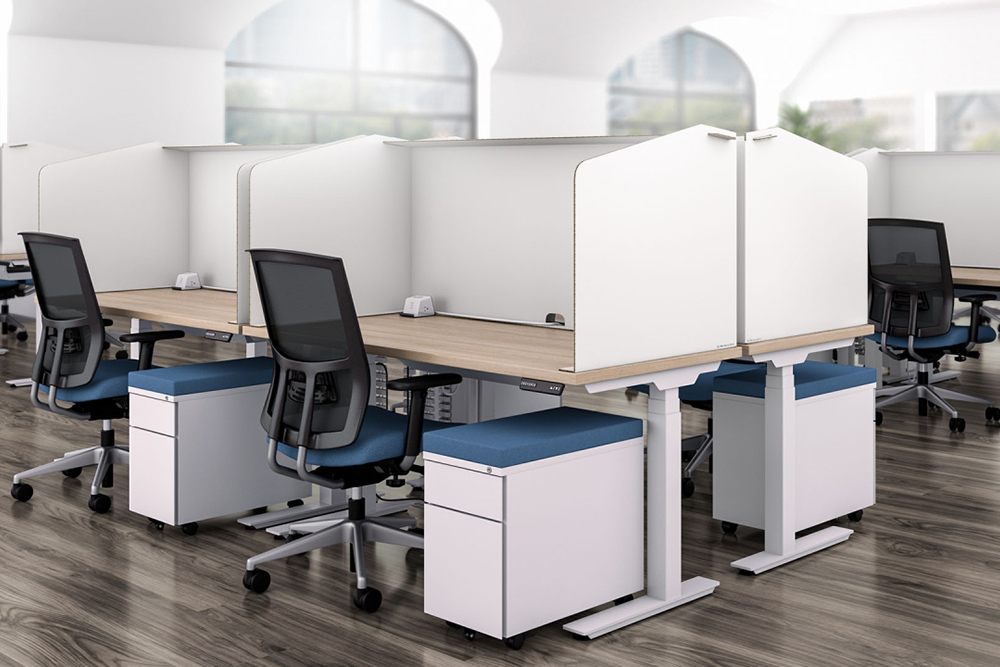 Office desks with protective screens