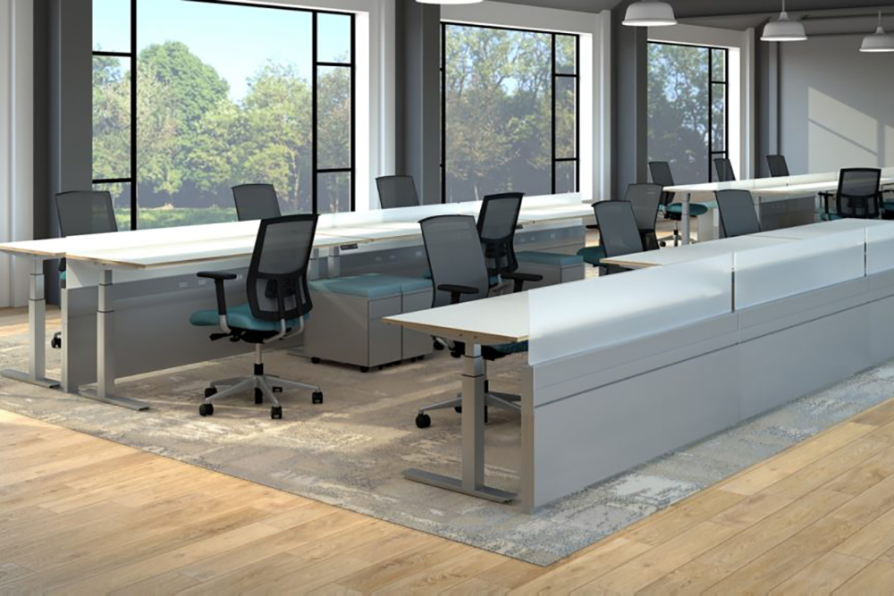 Height adjustable desks with power