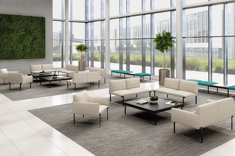White lobby chairs
