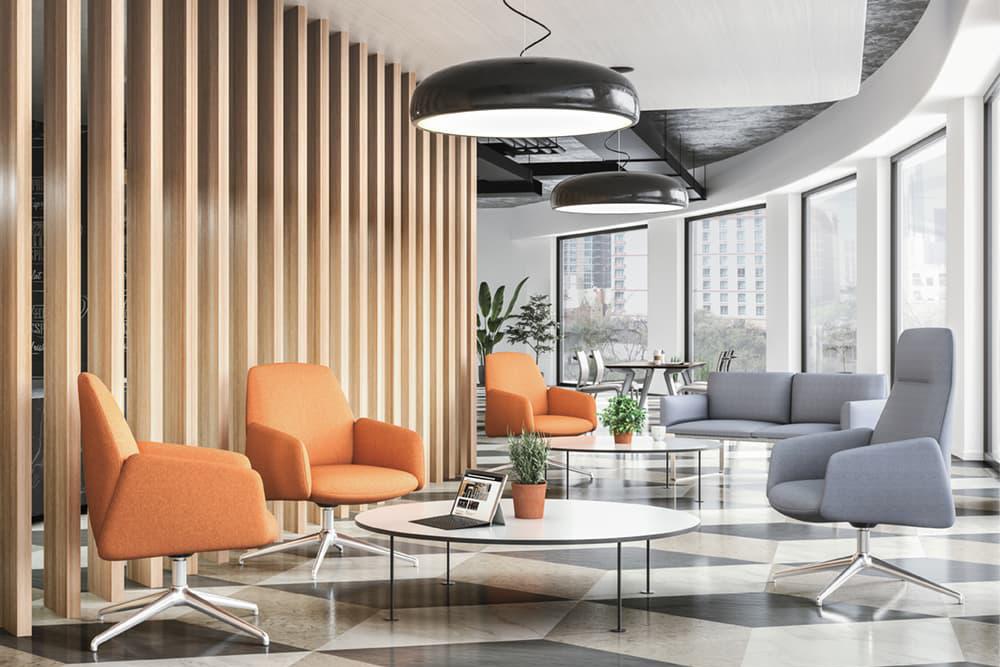 Orange guest chairs