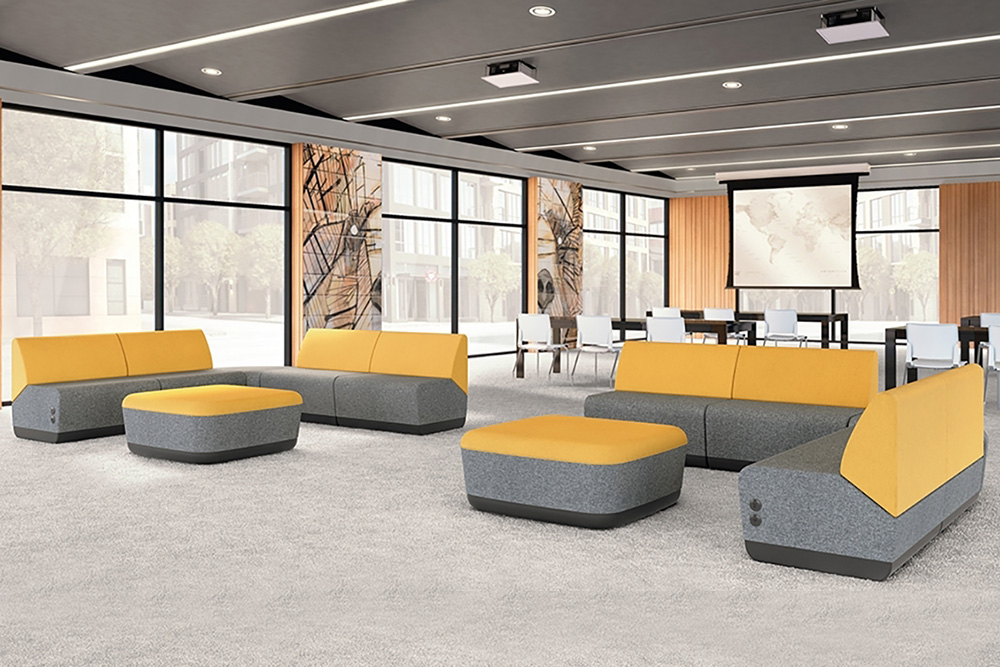 Yellow sectional seating