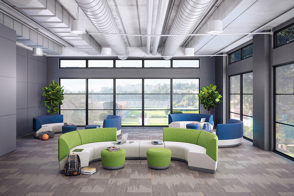 Curved sectional seating