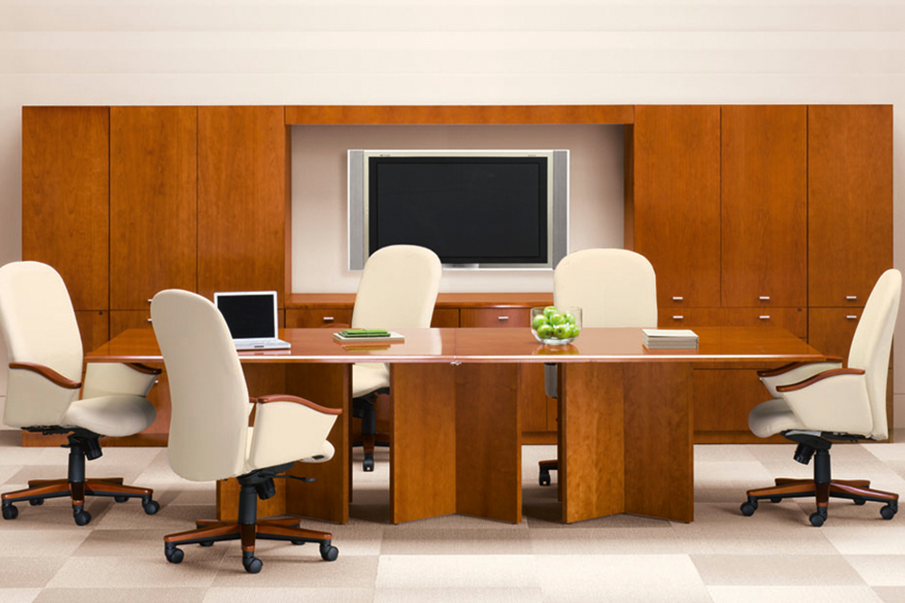 Three column conference table