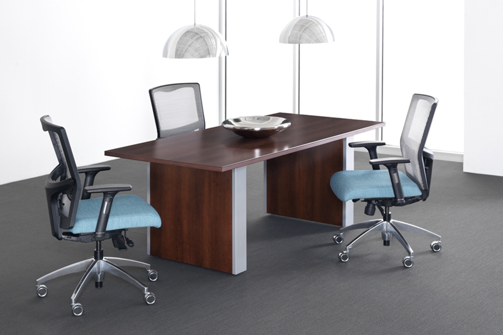 Conference room with blue chairs