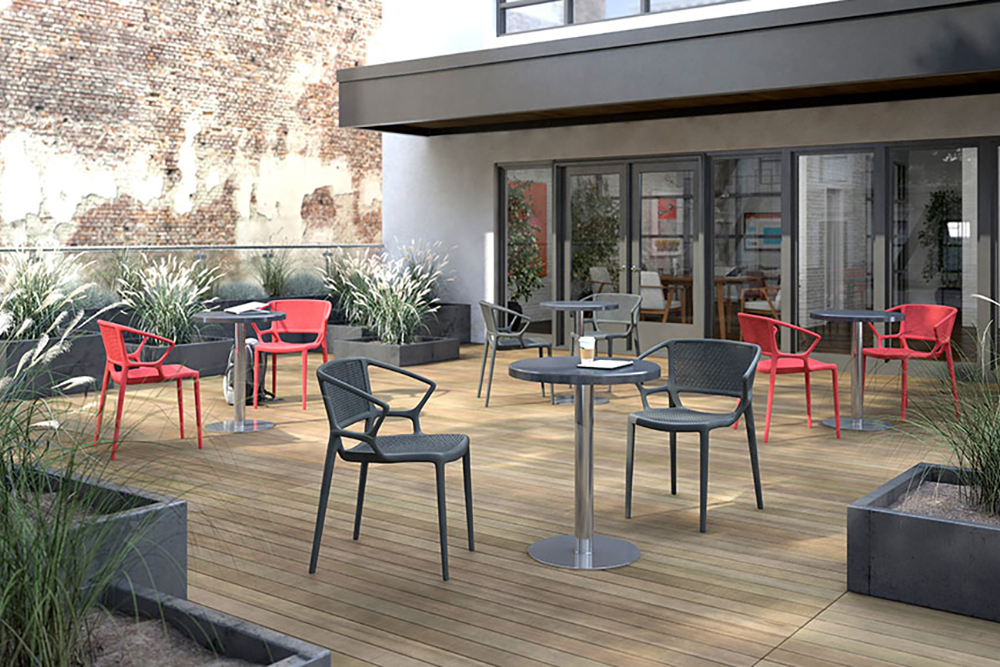 Black and red plastic cafe chairs