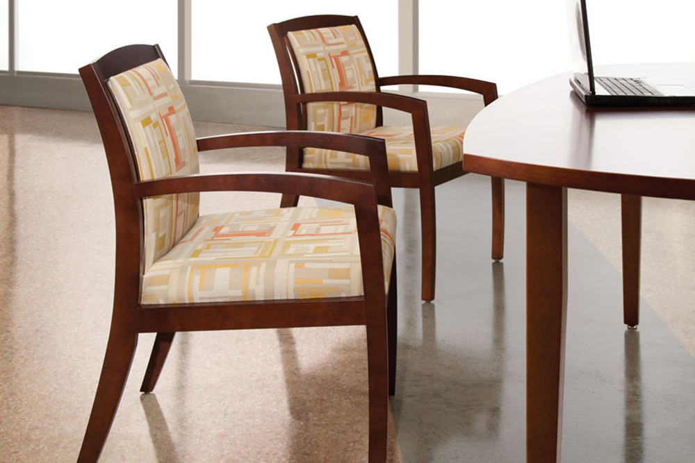 Wood waiting room chair with fabric back