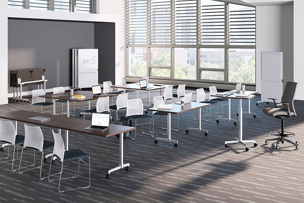 Training room with mesh back chairs