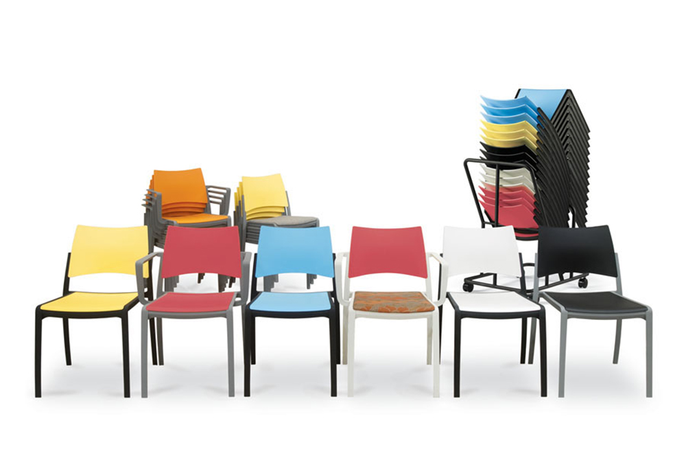 Stacking chair in bright colors