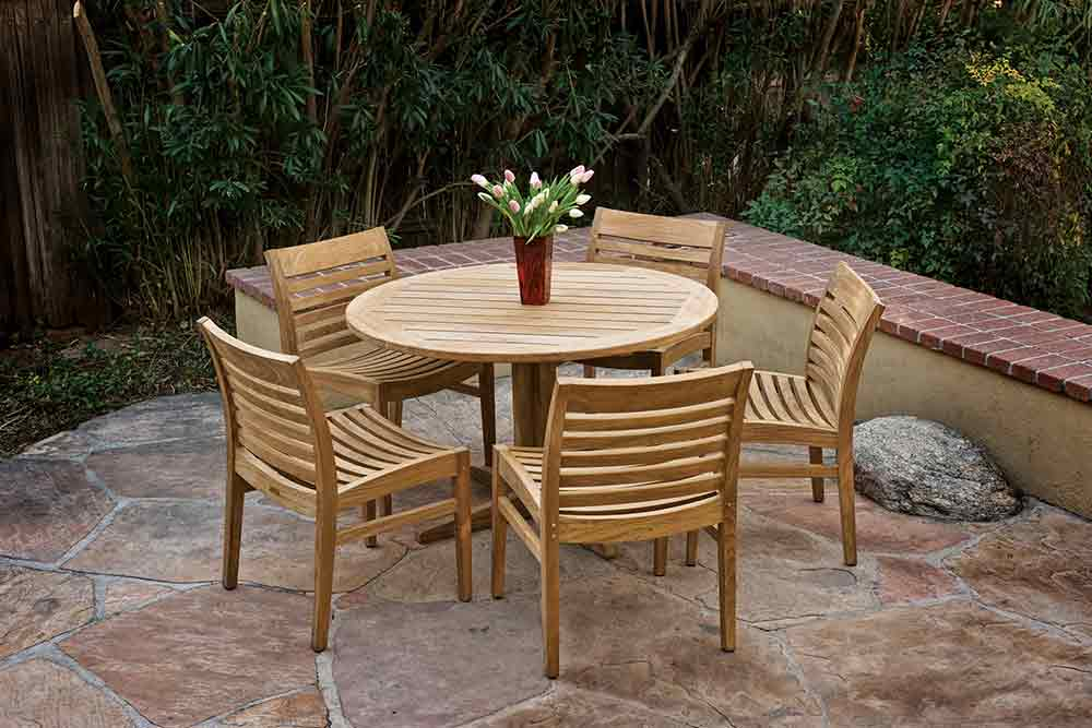 Outdoor wood table and chairs
