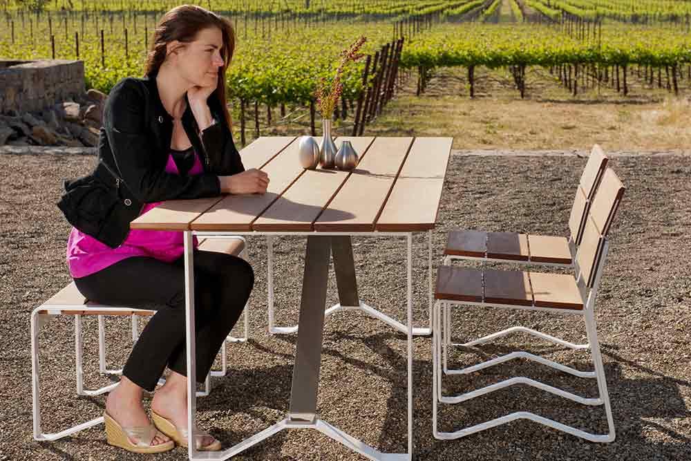 Rectangular table for outside