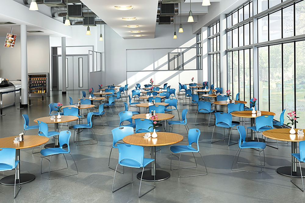 Blue cafeteria chairs
