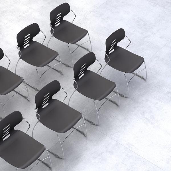 Black plastic training room chair