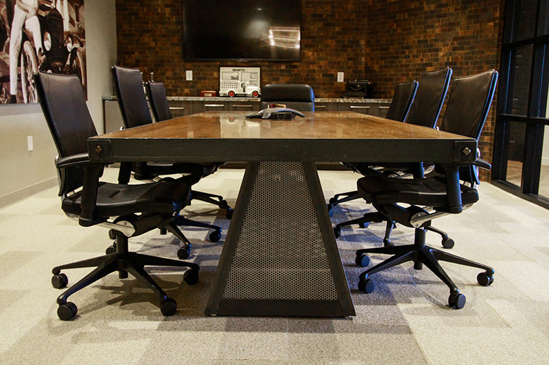 Conference table with task chairs