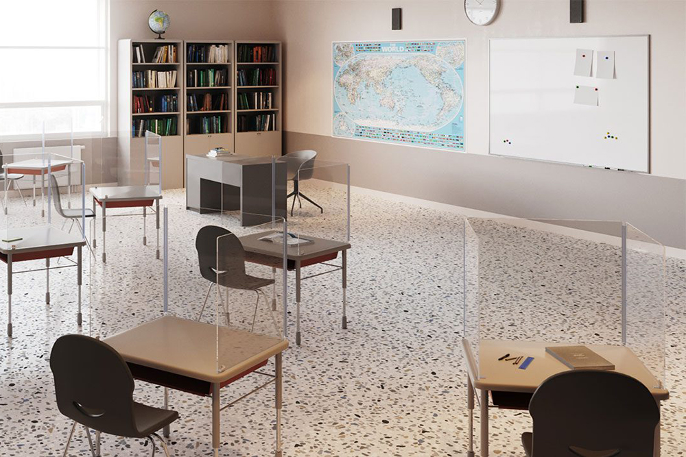 Classroom with world map