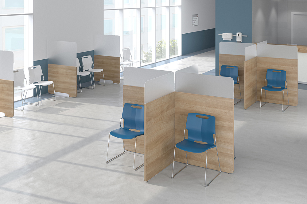 L shaped dividers with blue chairs