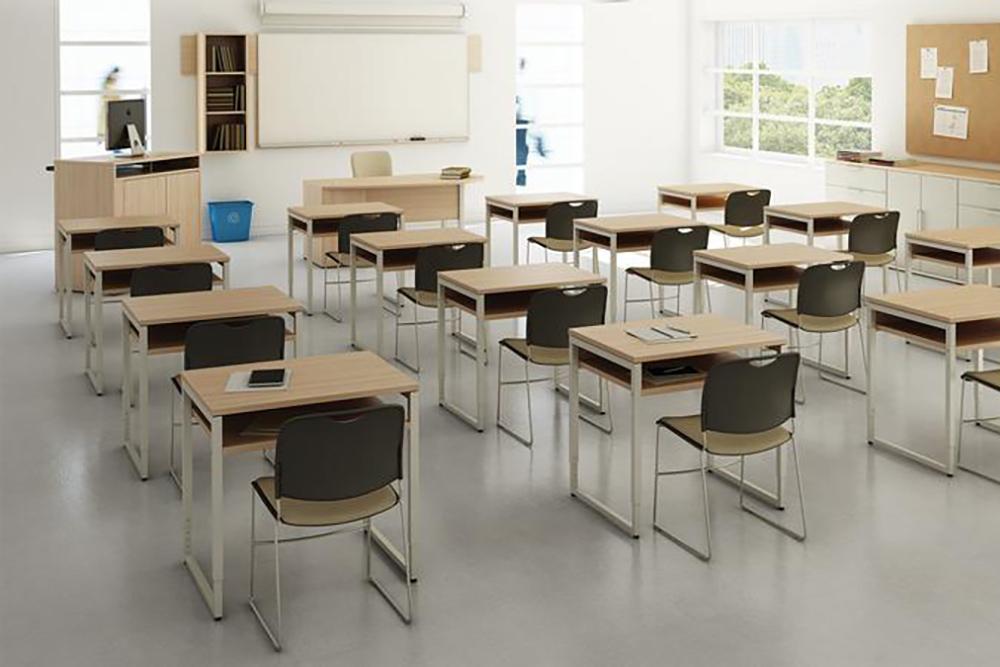 Individual desks with center shelf