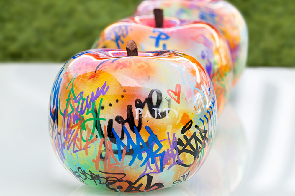 Outdoor ceramic apple
