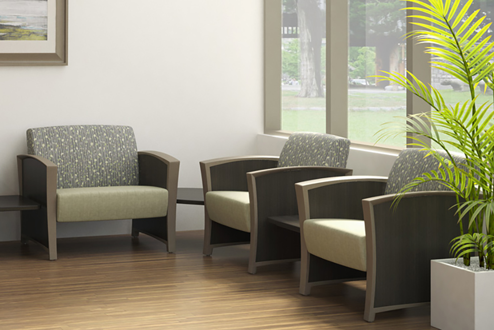 Multiple colored lobby chairs