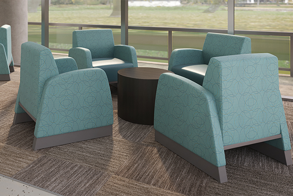 Solid green chairs for behavioral waiting room
