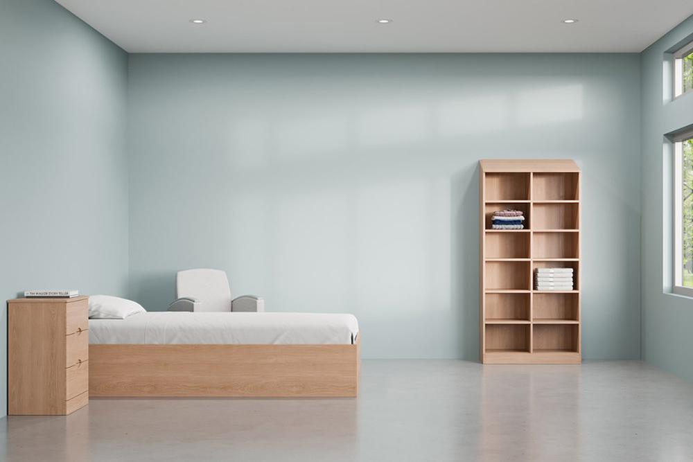 Wood bookcase in behavioral private room