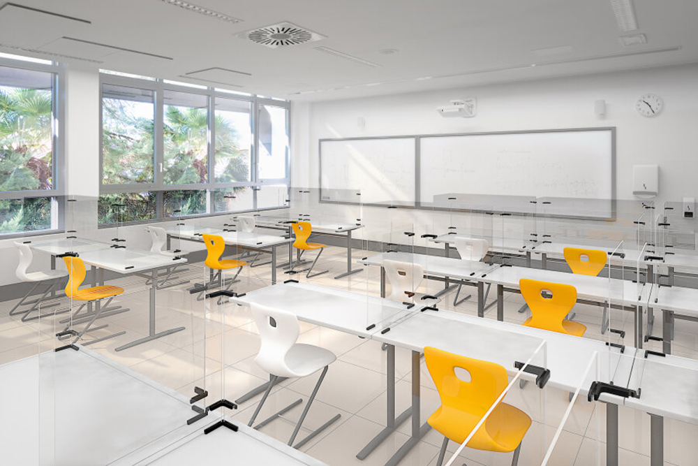 Yellow and white classroom furniture