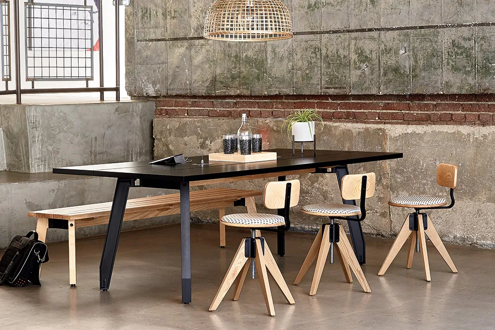 Table and stools in dining area