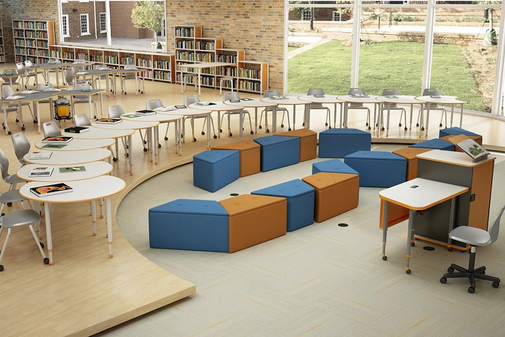 Height adjustable classroom furniture