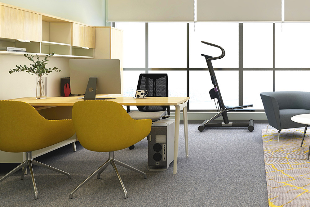 Office chairs and desk with exercise machine