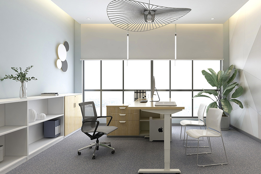 Office with height adjustable table and chairs