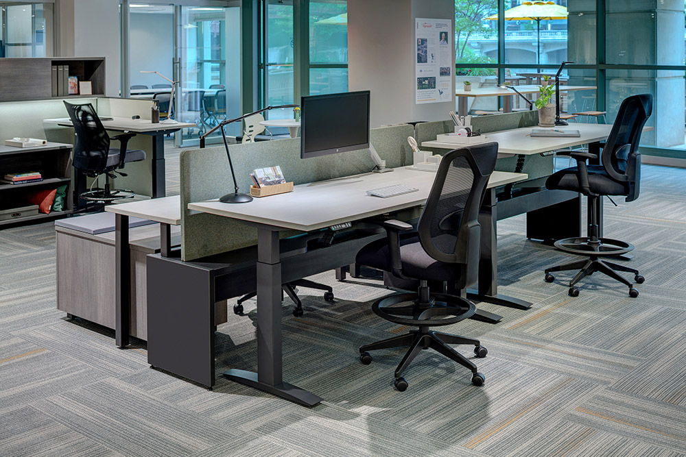 Task chairs at height adjustable desks in office environment