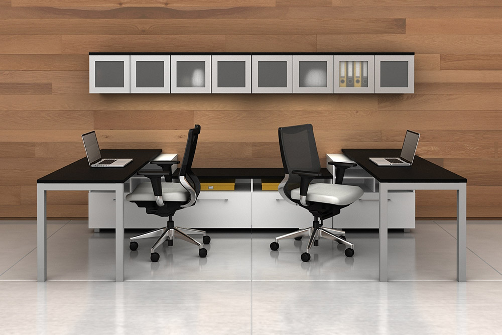 Task chairs at workstation in office environment