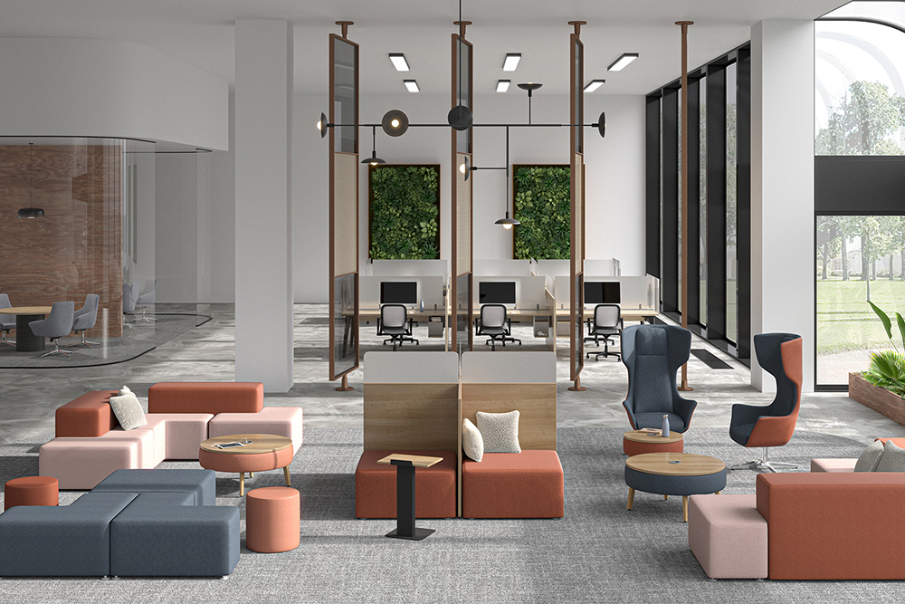 Lobby with social distance furniture