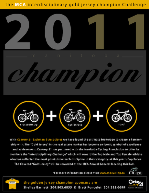 """dc259a34 ... Poncelet of Century 21 Bachman & Associates, are excited to announce to  our Race Membership the """"Interdisciplinary Gold Champion Jersey Challenge""""."""