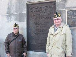 Dir. Brotonel (L) and Pres. McMahon (R) at the Bataan-Corregidor State Street Bridge in Chicago.