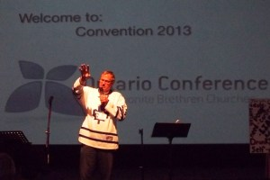 "Host pastor Herm Plett of Mountain Park Church: ""We don't go to church: we are the church."""