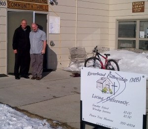Director of church ministries Ralph Gliege and SKMB moderator Todd Hardy at Borden Community Centre, home to Riverbend Fellowship (MB church).