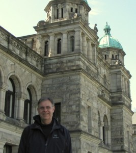Dale Wall, in front of the B.C. legislature.
