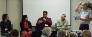Don Klaassen (far left) moderates panel discussion on practical issues in reaching out. Panel members (L-R) are pastors Marcel Morneau, Salvestina Felix, Kapil Sharma, and Harinder Sahota.