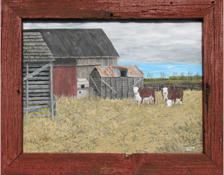 """""""Grandpa's Cattle"""" by Ian Kutz. 16 x 20. Acrylic on canvas. The frame is made from reclaimed wood from an old barn door."""