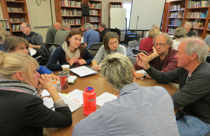 A Bible study on 1 Corinthians 6:9–20 engaged all delegates, including students, pastors, and professors.  Photo: Laura Kalmar