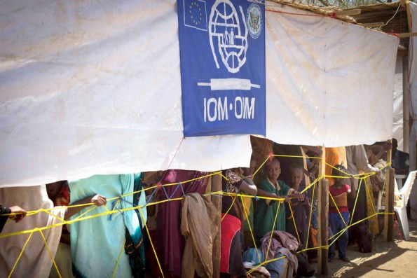 Refugees from Central African Republic wait to register at a transitional refugee camp run by the International Organization for Migration in Moundou, Chad, where MCC is providing food and mosquito netting for some of the most vulnerable people. PHOTO: Alex Hurst