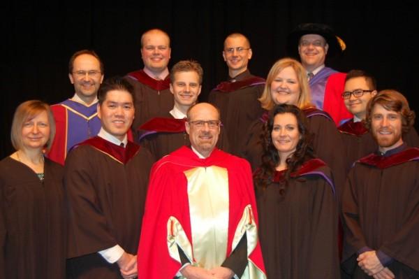 Back (l–r): Joe Kraftchick (MA CS), Mathew Voth (MA CS), Brian Cooper; middle: Randy Wollf, Ryan Giesbrecht (MDiv), Lorraine Klassen (MA MFT), David Navarro (MDiv); front: Grace Neudorf (Dip CS), Philip Yee (MDiv), Bruce Guenther, Deana Brandt (MA MFT), Ryley Heppner (MA CS). Not pictured: Ryan Kopke (MLE), Matthew Sin (DMin).