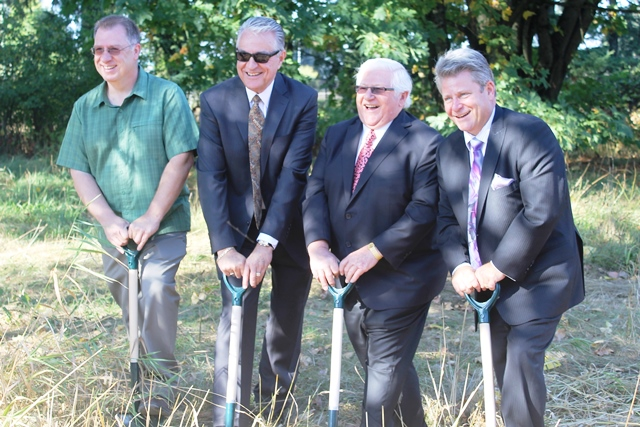 Turning over the first shovefuls of dirt for the Mennonite Heritage Museum are from left: Richard Thiessen, Mennonite Museum Society executive director;  Dave Batten, MMS director of development; MMS president Peter Redekop, and Abbotsford mayor Bruce Banman