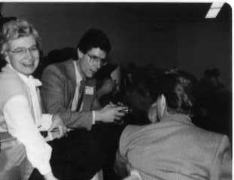 Salome Hiebert (l) at a convention in 1987.