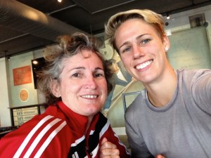 Prayer warrior Cornelia Schmidt with her daughter, national soccer player Sophie Schmidt.