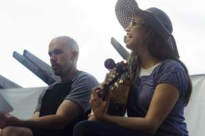 Erika Goode (right) leads worship in song with Ben Macdonald during her Summerbridge internship at The Well church.