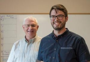 Elevation apprentice Jonathan Muehling and lead pastor Russ Toews. PHOTO: Carson Samson